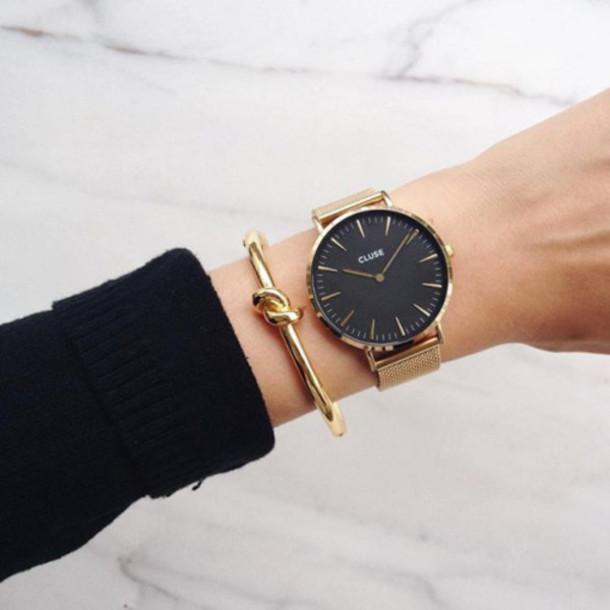 jewels tumblr black watch bracelets gold bracelet cluse