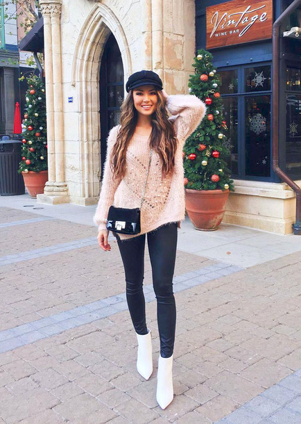 sweater tumblr knit knitwear knitted sweater embellished leggings black leggings leather leggings boots white boots ankle boots fisherman cap