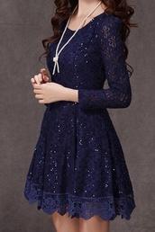 christmas holiday,bleu,dress,blue dress,navy dress,fancy dress,long sleeve dress,lace,sparkly dress