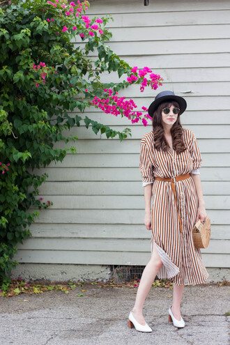 jeans and a teacup blogger dress hat bag shoes sunglasses pumps cult gaia bag midi dress striped dress fall outfits