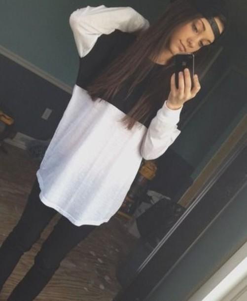 shirt long shirt black and white