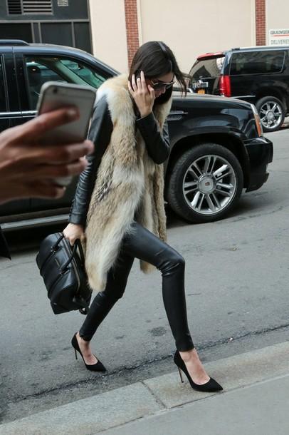 coat fur coat kendall jenner pants leggings leather pants