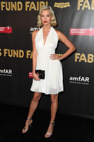 dress white white dress sandals karlie kloss halloween costume celebrity model off-duty shoes