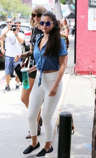 blouse shirt selena gomez leggings sneakers