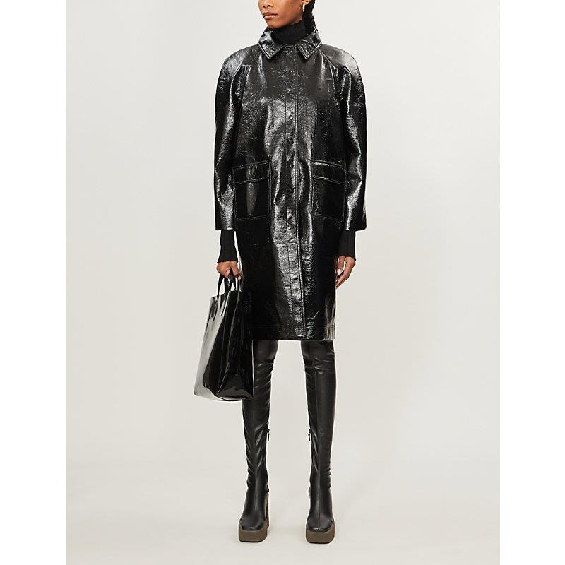 Flap-pocket faux-leather jacket