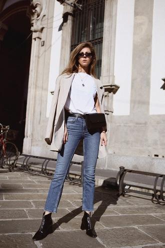 top blazer jeans denim shoes boots black boots belt bag sunglasses