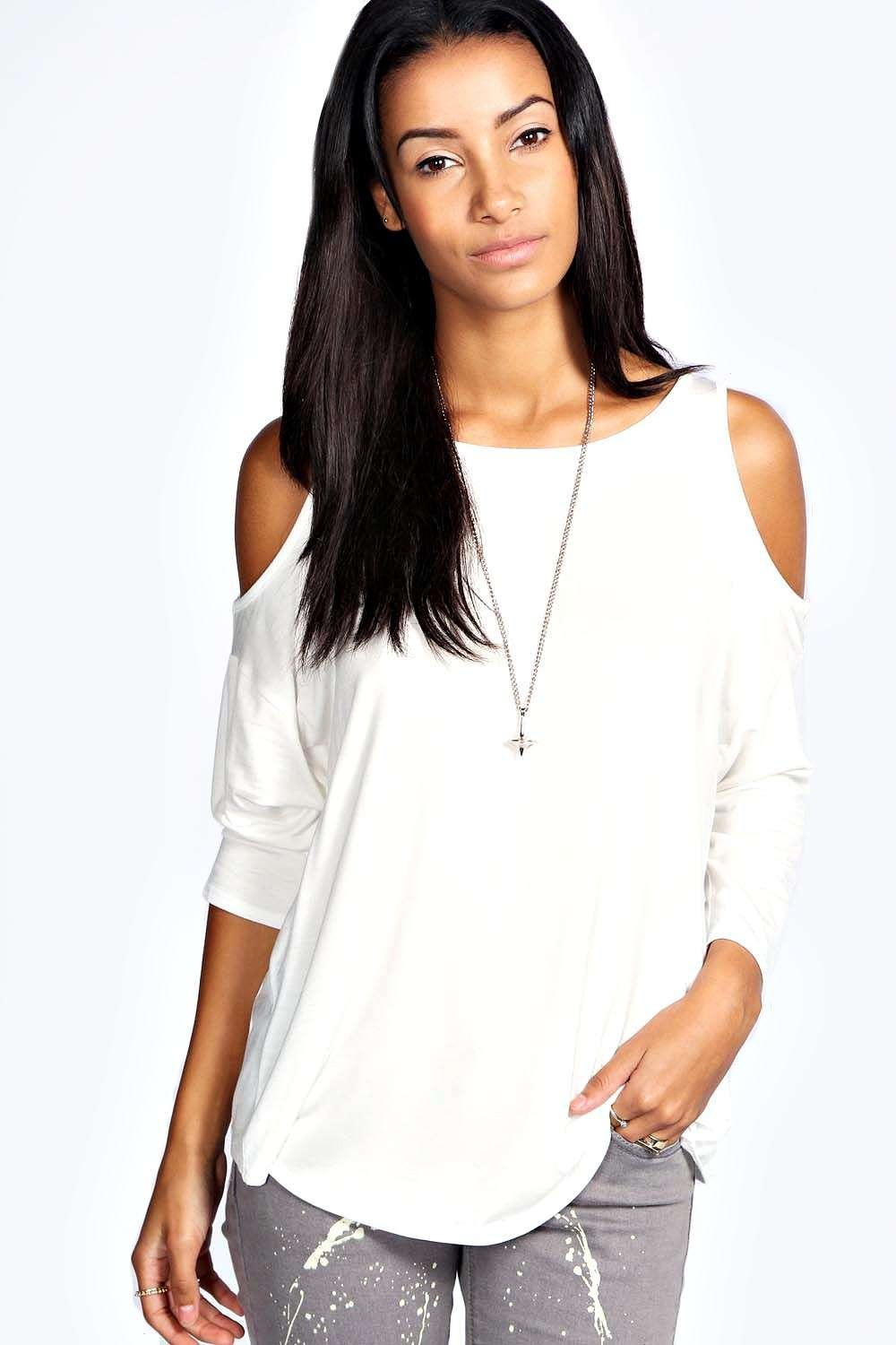 Charlotte cut out shoulder top for How to get foundation out of a white shirt