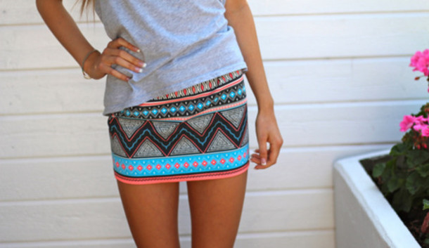 Skirt Aztec Blue Mint Fashion Summer Colorful Red Tribal Adorable Patterned Mini Skirt