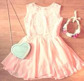dress,bag,silver sparkly crossbody bag cute,pastel,pink pastel dresses,hat,summer dress,pink floral kimono,girly,cute dress,details,pink dress,hair accessory