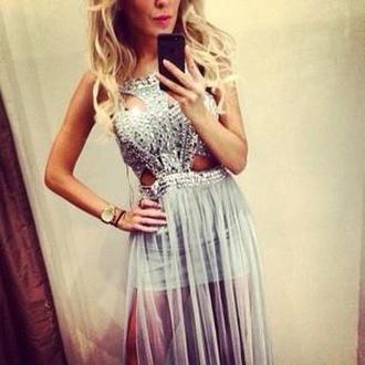 dress see through see through dress chiffon chiffon dress diamonds glitter luxury luxury dresses prom dress diamond dress fancy dress