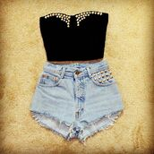 shorts,denim,studs,blue,shirt,black,vetements,stud,tank top,studded,gold,black crop top,crop tops,clothes,cut offs,outfit,cut off shorts,High waisted shorts,denim shorts,ripped shorts,vintage,black top,blouse,pants,top,summer outfits,bustier,studded shorts,black bralette,black bustier,light high waisted shorts,studded top,bralette,bandeau,bustier crop top,studded crop top,studded bustier,307785,rhinestones,jeans,black shorts,black tank top,festival,or,shoes,crop,spike,party,cool,top crop