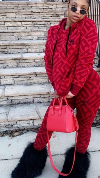 jacket adidas red black summer winter outfits fall outfits fashion de'arra taylor pants joggers leggings de'arra taylor spring