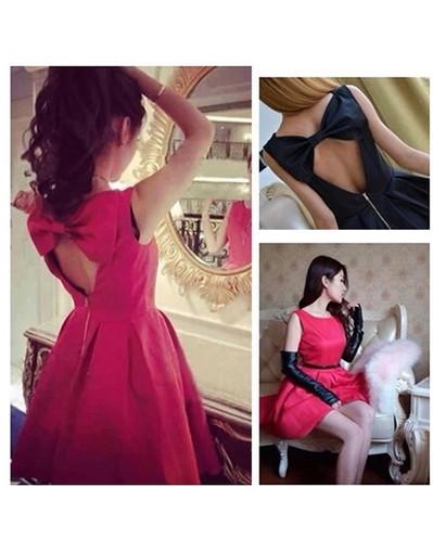 Backless bow mini elegant dress dresses sexy sleeveless black red