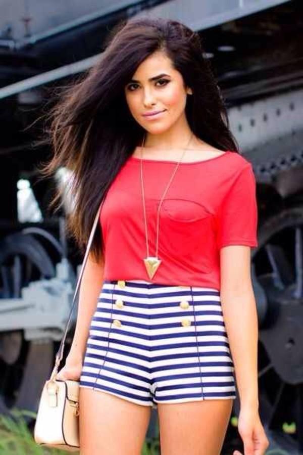 shorts blouse jewels