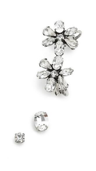 cuff clear daisy ear cuff silver jewels