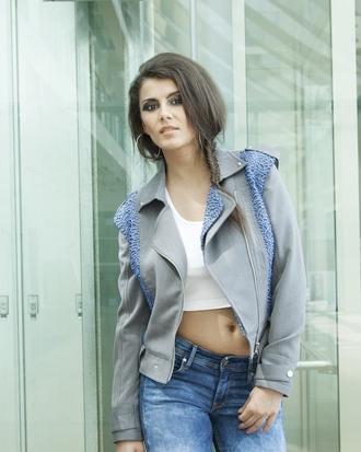 lace blue jeans stud jacket biker grey style biker jacket crop tops hoop earings blogger celebrity style