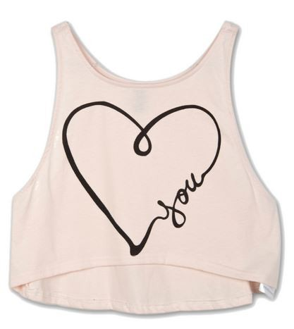 Pink Heart You Print Crop Tank Top
