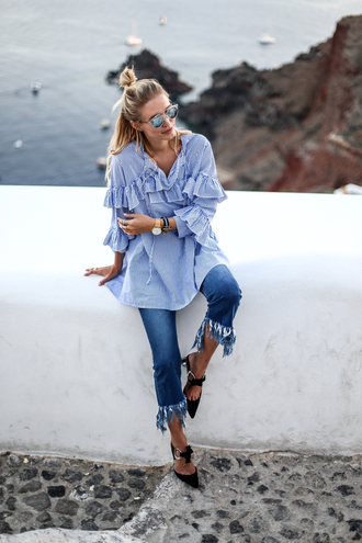 ohh couture blogger shoes blouse bag jeans sunglasses jewels blue top ruffle ruffled top fringes black heels