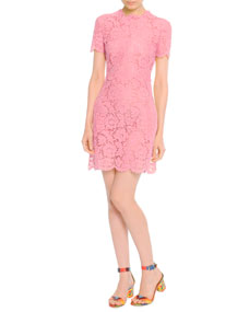 Valentino Short-Sleeve Lace Dress