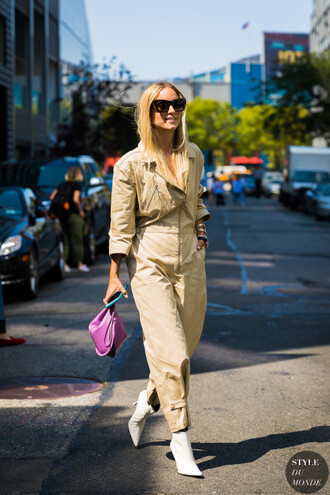 shoes white boots purple bag boots bag sunglasses jumpsuit