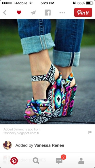 shoes multi colored wedges aztec print shoes