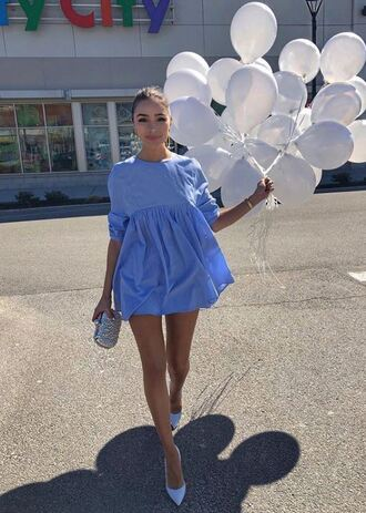 dress blue blue dress pastel baby blue olivia culpo instagram spring dress spring outfits mini dress long sleeve dress