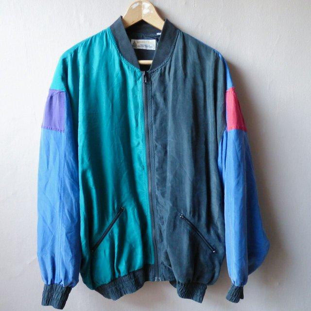 56063445a Vintage Multi-coloured London Fog Bomber Jacket // Size- Medium // ...