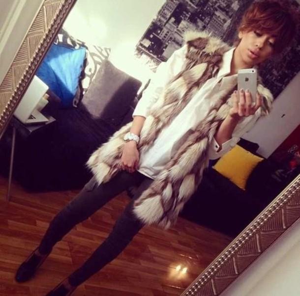 jacket faux fur jacket faux fur vest faux fur coat rabbit fur jacket waiscoats pants skinny pants jeans slim leggings cardigan