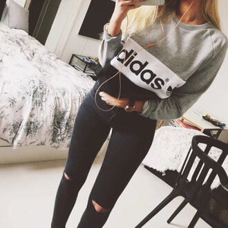 shirt adidas sweater grey black white comfy