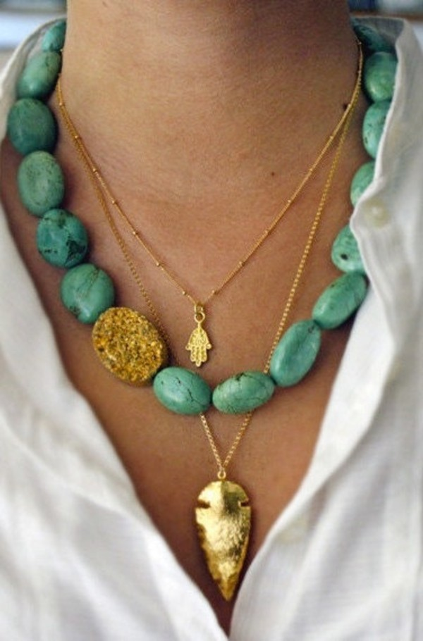 jewels necklace turquoise gold hippie hippie necklace boho real stones turqouise chain necklace jewelry
