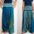 Elegant Peacock Feather Boho Harem Pants/ Hippie Pants/ Gypsy Aladdin Genie Pants/ Yoga Pants/ Wide Leg Pants (Dark Teal)