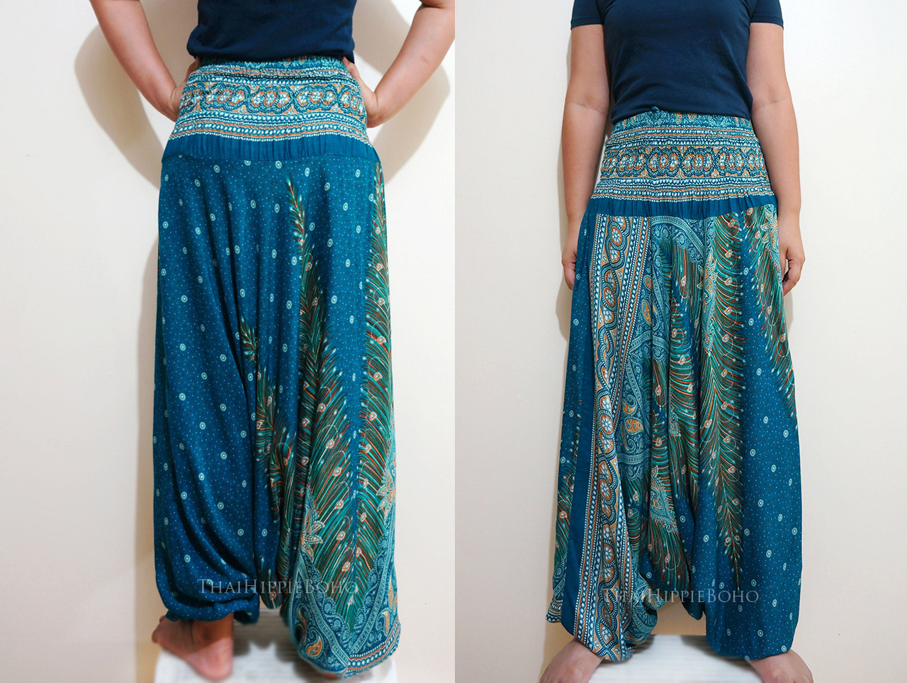 Peacock Feather Boho Harem Pants/ Hippie Pants/ Gypsy Aladdin ...
