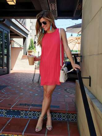 brighton the day blog | dallas fashion blog blogger shoes dress jewels bag shirt pink dress mini dress shoulder bag white bag nude heels earrings