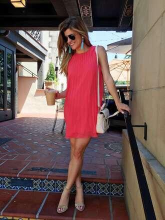 brighton the day blog | dallas fashion blog blogger shoes dress jewels bag shirt pink dress mini dress shoulder bag white bag nude heels earrings