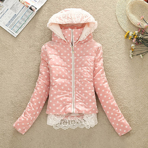 [grxjy560796]Polka Dots Crown Flowers Print Crochet Lace Padded Jacket Hooded Coat on Luulla