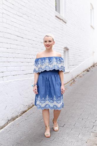 poor little it girl blogger dress make-up off the shoulder blue dress lace dress denim dress flats summer dress spring dress