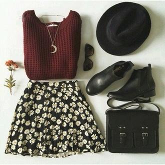 bag sweater style skirt cute dress flower skater skirt skater skirt hat fashion sweet belt sunglasses shoes jewels