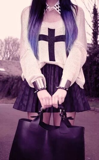 blouse shirt jewelry bracelets spikes scarf hair accessory bag cross long shirt skirt blackskirt goth grunge long sweater top pastel goth jewels cardigan t-shirt sweater white black
