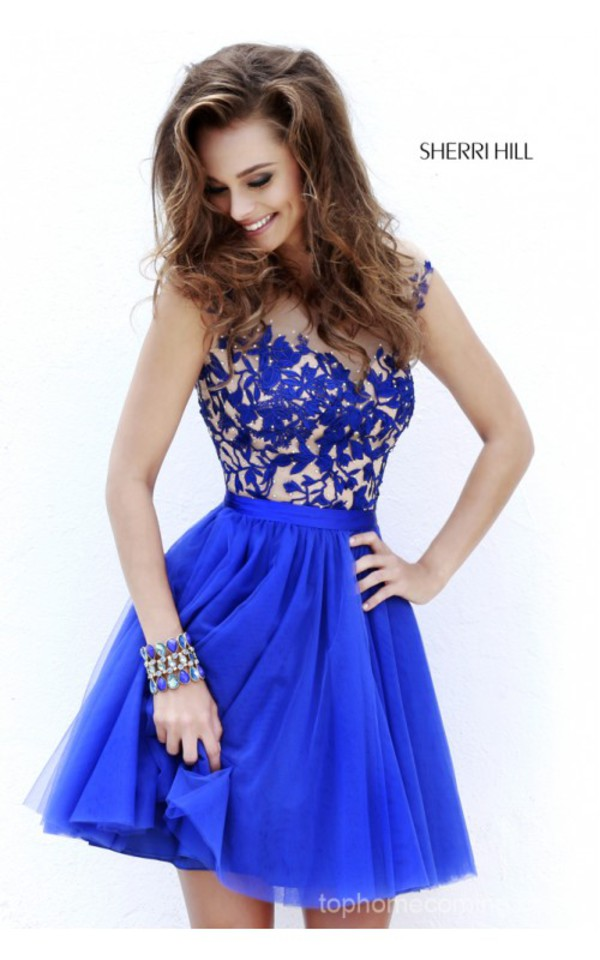 homecoming dress dress sherri hill homecoming blue blue dress beutifull short dress