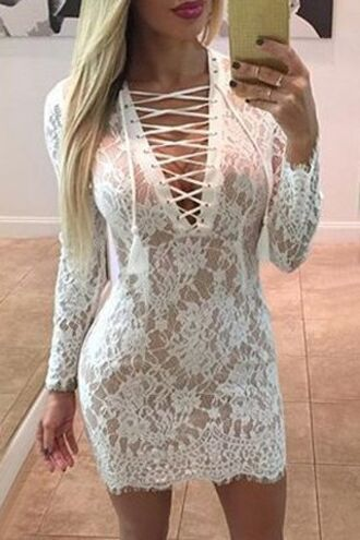 dress lace dress lace up criss cross long dress instagram sexy lace white trendy summer fancy strappy girly fashion style long sleeves party dress zaful white dress white lace white lace dress long sleeve white dress long sleeve white lace dress bodycon dress white lace bodycon dress lace bodycon dress long sleeve dress white long sleeve dress