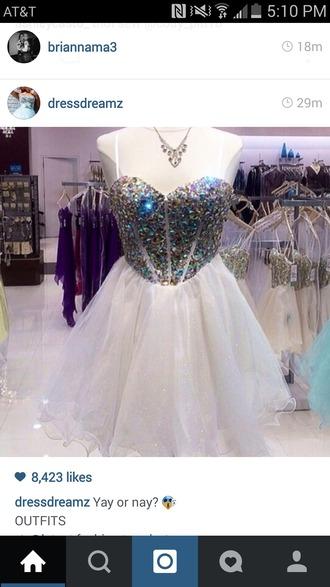 dress jewels pretty homecoming white dress