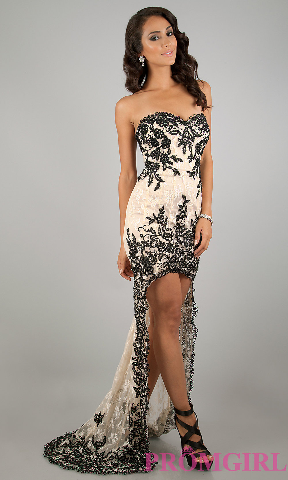 Black and white high low prom dresses