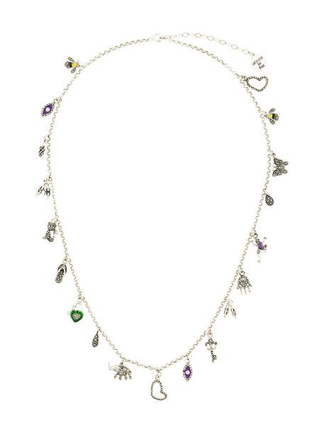 women necklace pendant silver grey metallic jewels