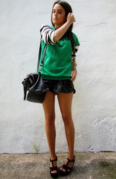 green shirt sweatshirt strip