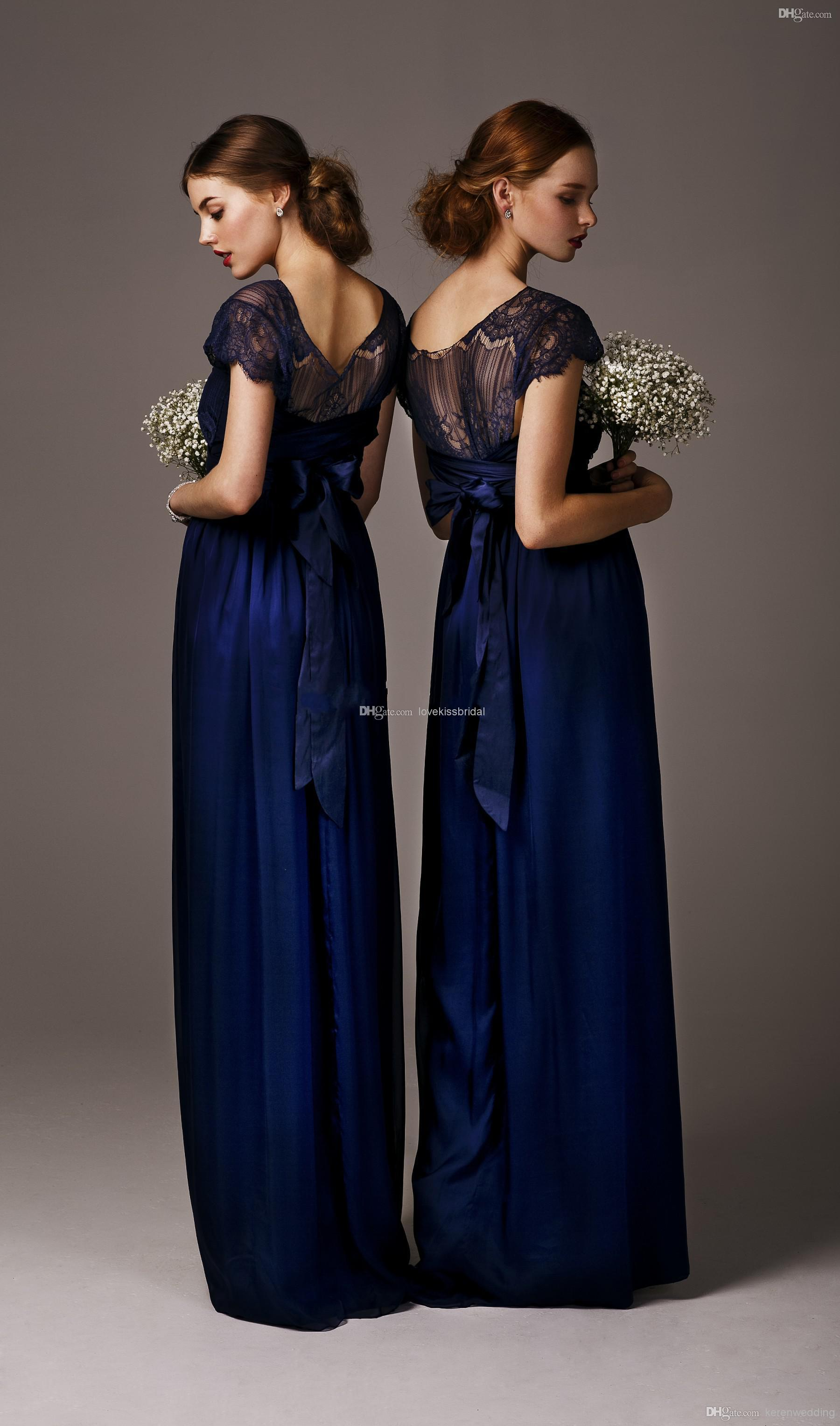 Wholesale Cheap Bridesmaid Dress - Buy 2014 Cheap Elegant Blue Long Junior Bridesmaid Dresses Ribbon Sash Sheer Lace Neck Evening Bridesmaids Party Gowns Wedding Custom Made, $69.11 | DHgate