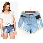 shorts,kcloth,rivet denim,jeans,denim,high waist tassel jeans,faux leather jeans,high waisted denim shorts