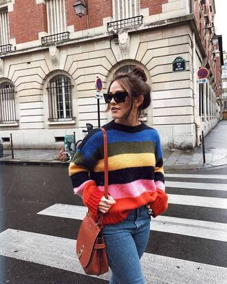 sweater tumblr stripes striped sweater denim jeans blue jeans bag brown bag sunglasses
