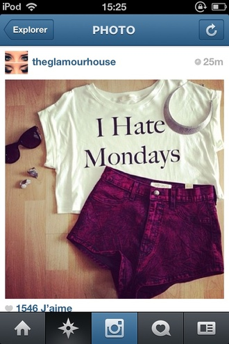 t-shirt fall outfits hate mondays shorts jewels sunglasses monday shirt i hate mondays white shirt burgundy high waisted crop tops top red white funny pants love this shirt blouse crop outfit jeans casual lovely girl girly nice hate mondays acid washed shorts acid wash style i hate mondays t shirt white t-shirt women tshirts white and black tshirt girly tshirt white crop tops cut out white crop tops summer quote croptop quote on it white top i hate monday i hate mondays tshirt dark red i hate mondays dark fashion tumblr outfit graphic tee