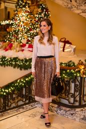 gal meets glam,blogger,bag,pleated skirt,metallic,gold,blouse,midi skirt,sandals,holiday dress,skirt,shoes,jewels,metallic pleated skirt