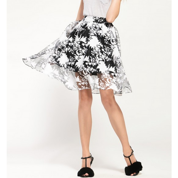 Floral Print Organza Full Skirt at Style Moi